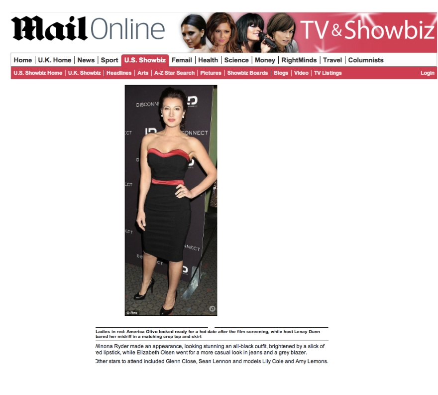 America Olivo in Daily Mail Park Avenue dress